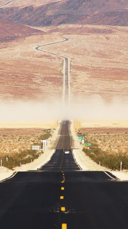 Californian desert, 4k, 5k wallpaper, 8k, road, USA, sunset (vertical)