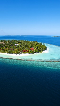 Maldives, 5k, 4k wallpaper, holidays, vacation, travel, hotel, island, ocean, bungalow, beach, sky (vertical)