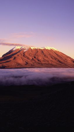 Kilimanjaro, 5k, 4k wallpaper, Africa, mountains, sky, clouds (vertical)