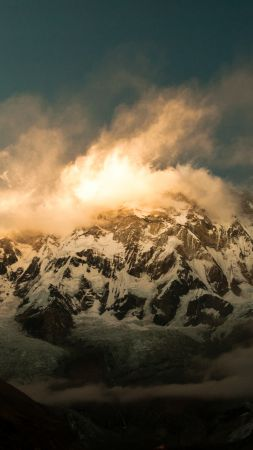 Annapurna, 5k, 4k wallpaper, Himalayas, Nepal, clouds, mountain, sunset (vertical)