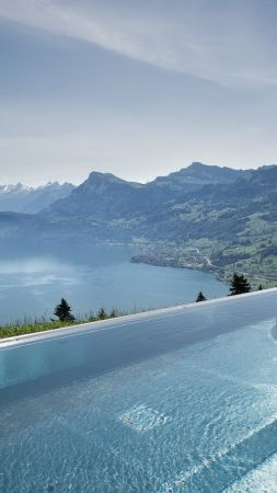 Hotel Villa Honegg, 5k, 4k wallpaper, 8k, Bürgenstock, Switzerland, infinity pool, pool, travel, tourism (vertical)