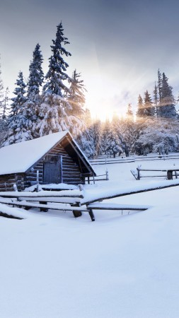 winter forest, 5k, 4k wallpaper, 8k, mountain, sun, snow, fir-trees, village, house,  (vertical)