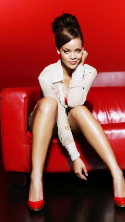 Rihanna, artists, music, red, room, sofa, hair, brunette (vertical)