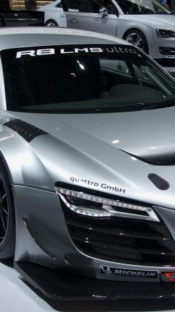 Audi R8 LMS, coupe, supercar, gray.