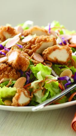 Chicken salad, nuts, cabbage