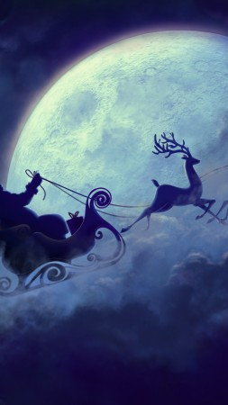 Deer, Santa, moon, clouds, Christmas (vertical)