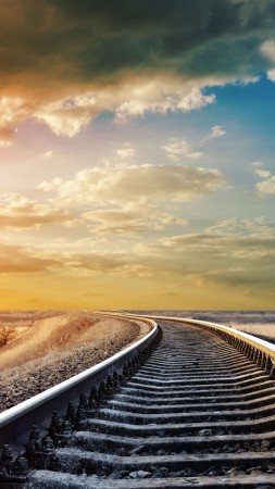Railway, 4k, HD wallpaper, road, sky, clouds, day, sun, winter, dream,  (vertical)