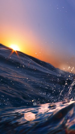 Sea, Ocean, Water, sunset, sunrise, blue, rays