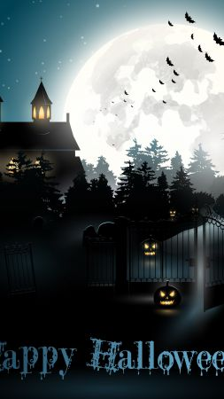 Halloween, moon, cemetery, night, pumpkin (vertical)