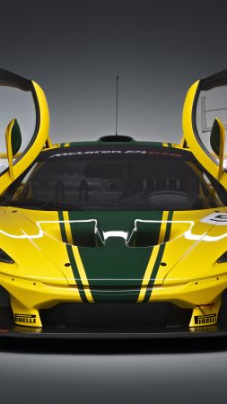 McLaren P1 GTR, hypercar, sedan, yellow. (vertical)