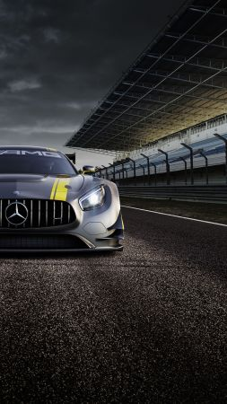 Mercedes AMG GT3, hypercar, coupe, gray. (vertical)