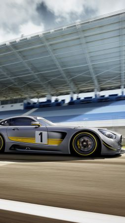 Mercedes AMG GT3, hypercar, coupe, gray.
