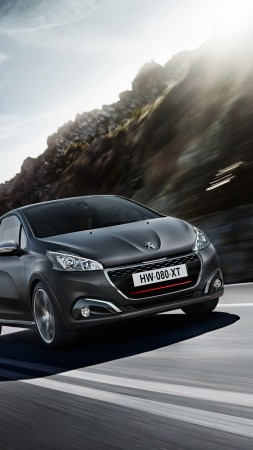 peugeot 208 gti, hatchback, gray, rocks. (vertical)