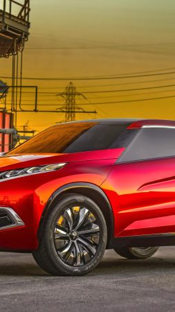 Mitsubishi XR PHEV, hybrid, crossover, red. (vertical)