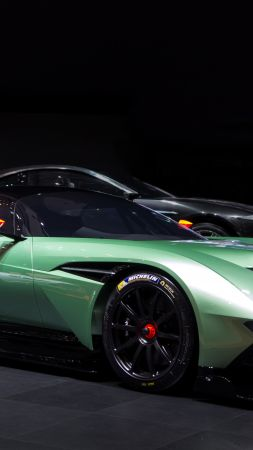 Aston Martin Vulcan, coupe, track only, green. (vertical)