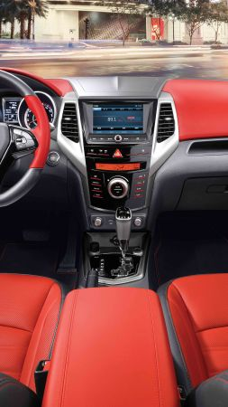 Ssangyong tivoli, crossover, red, interior. (vertical)