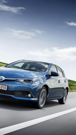 Toyota auris, hatchback, hybrid, blue. (vertical)
