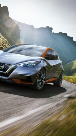 Nissan sway, concept, hatchback, mountains.