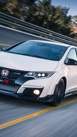 Honda civic type R, hatchback, Nurburgring, white. (vertical)
