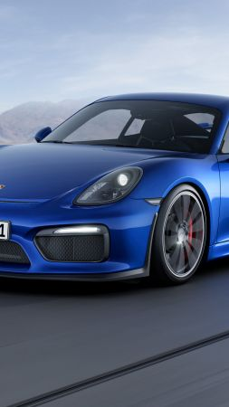 porsche cayman gt4, coupe, track, blue. (vertical)