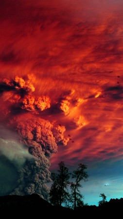 Puyehue, 5k, 4k wallpaper, Chile, Erupting, Volcano (vertical)