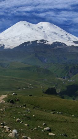 Elbrus, 5k, 4k wallpaper, Caucasus, mountains, volcano, sky, meadows (vertical)