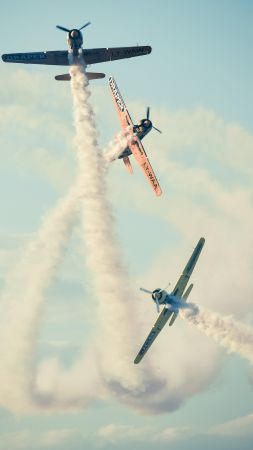 Bucharest airshow, 4k, 5k wallpaper, 2015 Sony World Photography Awards, sky, clouds, planes (vertical)