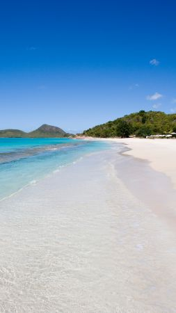 Hermitage bay, 5k, 4k wallpaper, 8k, Antigua, Barbuda, Best Beaches in the World, shore, sky, Caribbean sea (vertical)