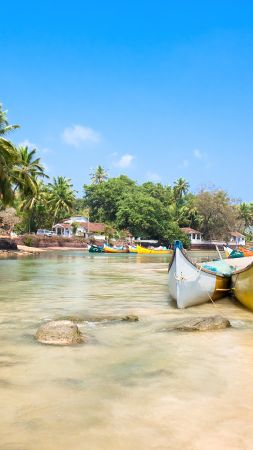 Goa, 5k, 4k wallpaper, India, Indian ocean, palms, boats, travel, tourism, Best Beaches in the World (vertical)