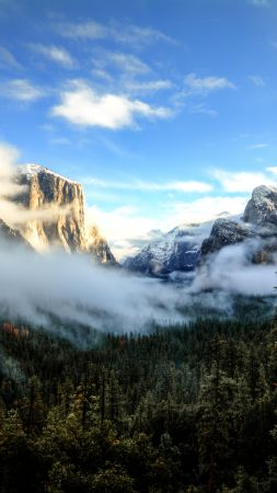 Tunnel View, 5k, 4k wallpaper, 8k, Yosemite, CA, Sunset, mountains, clouds, pines (vertical)