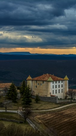 Chateau aiguines, Aiguines, France, mountains, sunset, castle