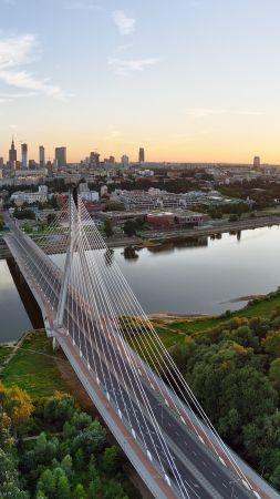 Warsaw, Poland, Vistula, river, bridge, sunset, trees