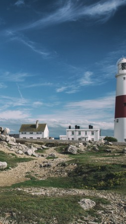 Portland Bill Lighthouse, 4k, 5k wallpaper, Jurassic Coast, Dorset, England, hills, stones, sky (vertical)