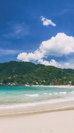 Ko Phangan, 5k, 4k wallpaper, Thailand, beach, coast, shore, sky (vertical)
