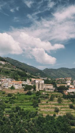 Ravello, 5k, 4k wallpaper, 8k, Amalfi Coast, Italy, hills, trees, sky (vertical)