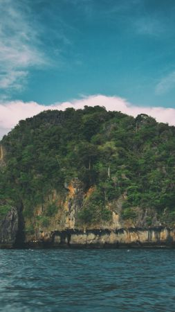 Turtle island, 5k, 4k wallpaper, Krabi, Thailand, Andaman Sea, clouds (vertical)