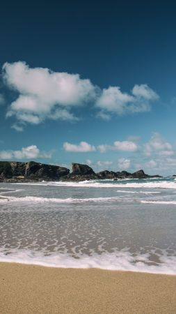 Porthcothan Bay, 5k, 4k wallpaper, Cornwall, England, beach, sea, shore (vertical)