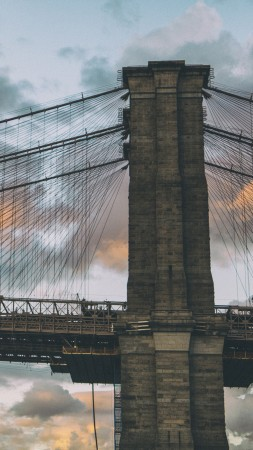 Brooklyn Bridge, New York, Dumbo in Brooklyn, clouds, sunset (vertical)