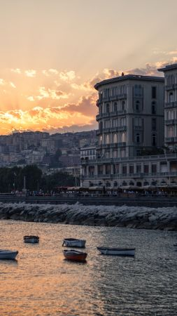 Napoli, Italy, sunset, coast, shore (vertical)