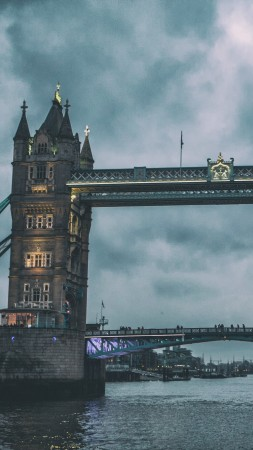 Tower Bridge, London, Thames, clouds (vertical)