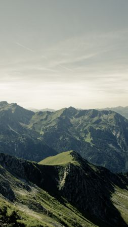 Allgaeu, 4k, 5k wallpaper, Germany, mountains, hills, sky (vertical)
