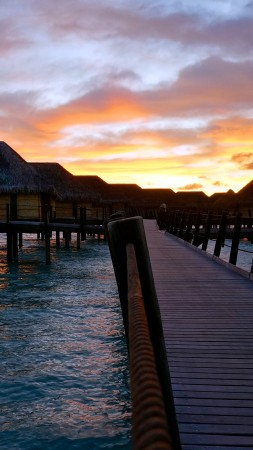 French Polynesia, 4k, HD wallpaper, sunset, sky, clouds, vacation, rest, travel, booking, ocean, bridge, bungalow (vertical)