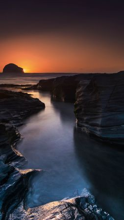 Trebarwith Strand, 4k, 5k wallpaper, 8k, England, travel, tourism, sunset, cliff, sea (vertical)