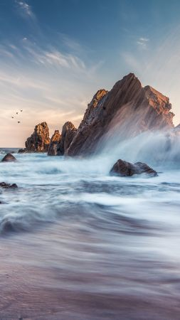 Corona Del Mar, 4k, 5k wallpaper, 8k, California, USA, Best Beaches in the World, travel, tourism, sunset, sunrise, sea (vertical)
