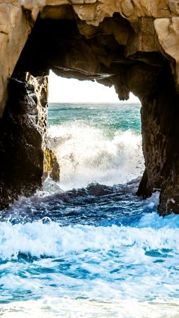 Window Rock, 5k, 4k wallpaper, 8k, Pfeiffer Beach, California, USA, travel, tourism (vertical)