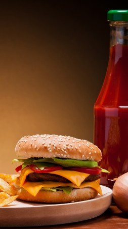 cheeseburger, fast food, french fries, cheese, steak, coca-cola, ice, ketchup, onion, cherry tomatoes (vertical)