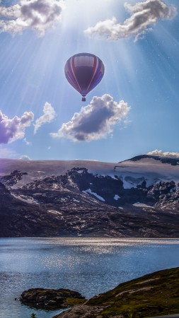 Norway, 4k, 5k wallpaper, 8k, balloon, lake, mountains, clouds (vertical)