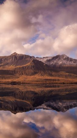 Iceland, mountains, river, clouds