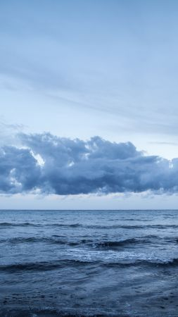 Playa de Migjorn, 4k, 5k wallpaper, Formentera, Balearic Islands, Spain, clouds (vertical)
