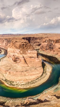 Horseshoe Bend, 4k, 5k wallpaper, 8k, Arizona, USA, rocks, clouds (vertical)